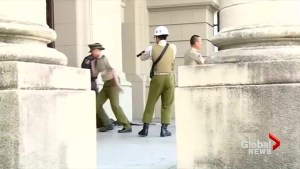 Man wielding samurai sword tries to storm Taiwan's parliament buildings